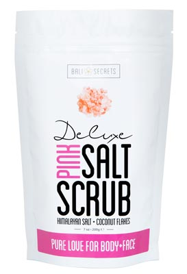 Pack of Natural Deluxe Pink Salt and Coconut Scrub by Bali Secrets isolated on white background